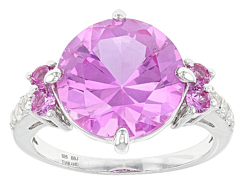 Photo of 6.49ctw Round Lab Created Pink Sapphire And .19ctw Round White Topaz Sterling Silver Ring - Size 12