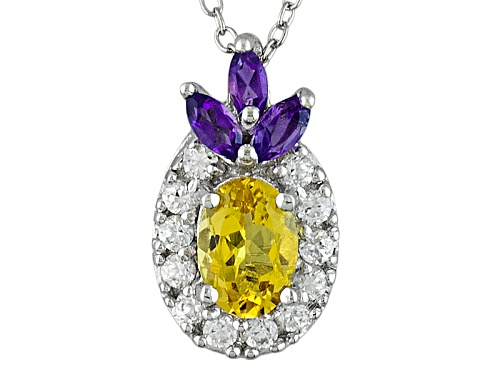 Photo of .64ct Oval Yellow Beryl, .21ctw African Amethyst, .34ctw White Zircon Silver Pendant, Chain