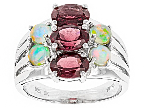 Photo of 2.38ctw Oval Raspberry color Rhodolite, .68ctw  Ethiopian Opal Sterling Silver Ring - Size 12