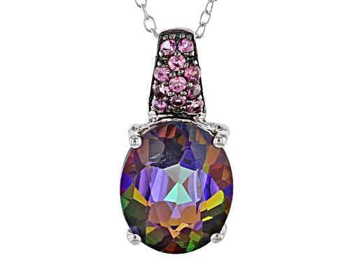 Photo of 4.88ct Oval Multicolor Topaz And .21ctw Round Rhodolite Sterling Silver Pendant With Chain