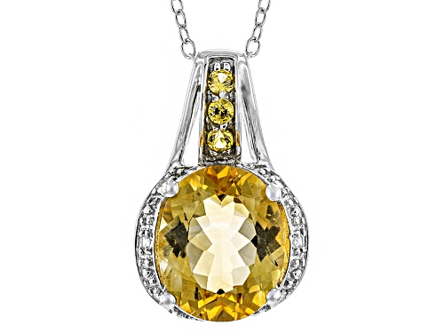 Photo of 2.33ct Citrine And .12ctw Yellow Sapphire With .07ctw White Zircon Silver Pendant With Chain
