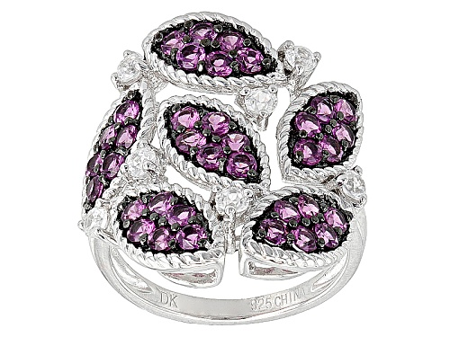 Photo of 2.10ctw Round Raspberry color Rhodolite With .23ctw Round White Zircon Sterling Silver Ring - Size 7