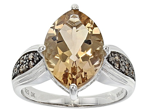 Photo of 3.40ct Marquise Bolivian Champagne Quartz With .07ctw Round Champagne Diamond Accent Silver Ring - Size 11