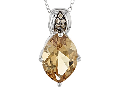 Photo of 3.40ct Marquise Bolivian Champagne Quartz, .03ctw Champagne Diamond Accent Silver Pendant, Chain