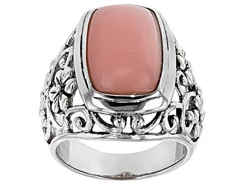 Photo of 17x10mm Rectangular Cushion Peruvian Pink Opal Sterling Silver Floral Solitaire Ring - Size 5