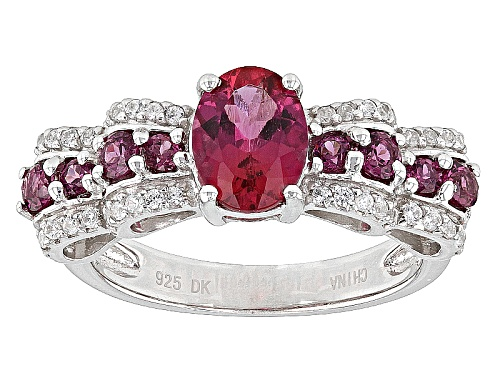 Photo of .93ct Oval Lab Created Bixbite With .44ctw Round Rhodolite And .27ctw Round White Zircon Silver Ring - Size 8