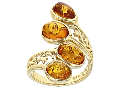 Photo of 8x6mm And 7x5mm Oval Cabochon Orange Amber  18k Gold Over Sterling Silver 4-Stone Bypass Ring - Size 6