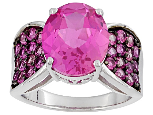 Photo of 6.08ctw Oval And Round Lab Created Pink Sapphire Sterling Silver Ring - Size 12