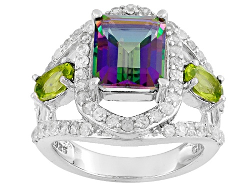Photo of 4.48ctw Emerald Cut Multi Color Quartz, Manchurian Peridot™, White Zircon Sterling Silver Ring - Size 6
