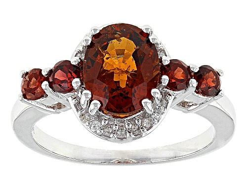Photo of 1.76ct Oval Hessonite And .45ctw Round Red Garnet With .11ctw Round White Zircon Silver Ring - Size 12