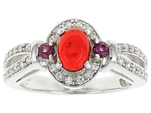 Photo of .33ct Oval Orange Ethiopian Opal With .33ctw Round Rhodolite Garnet And White Zircon Silver Ring - Size 8