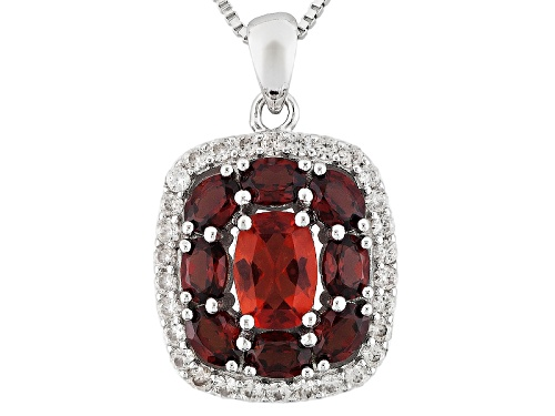 Photo of .60ct Labradorite, 1.56ctw Vermelho Garnet™, And .51ctw White Zircon Silver Pendant With Chain