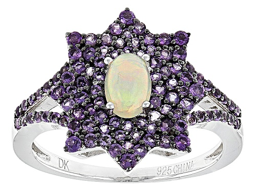Photo of .30ct Oval Cabochon Ethiopian Opal With .72ctw Round African Amethyst Sterling Silver Ring - Size 8