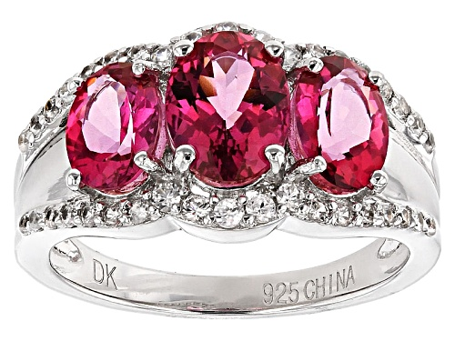 Photo of 2.25ctw Oval Pink Danburite With .42ctw Round White Zircon Sterling Silver 3-Stone Ring - Size 12