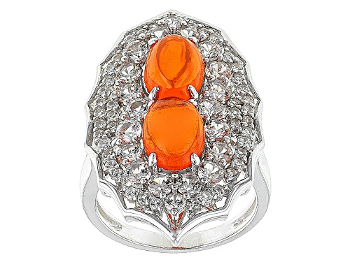 Photo of 1.27ctw Oval Orange Ethiopian Opal Cabochon With 1.90ctw Round White Zircon Sterling Silver Ring - Size 10