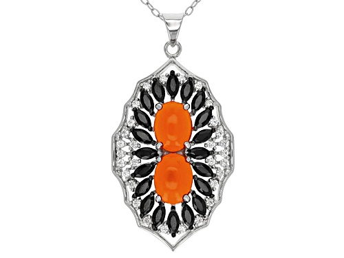 Photo of 1.27ctw Oval Orange Ethiopian Opal, .85ctw Black Spinel, .28ctw White Zircon Silver Pendant W/Chain