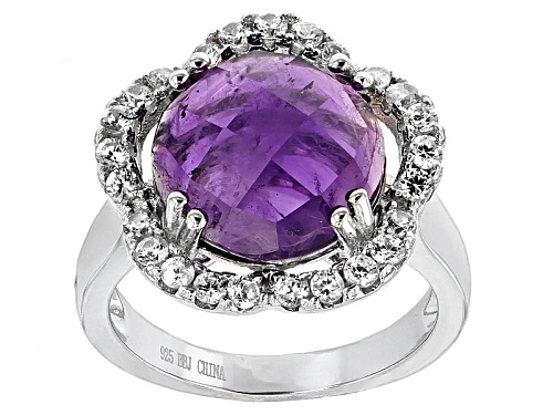 Photo of 5.81ctw Round Checkerboard Cut African Amethyst With .84ctw Round White Zircon Sterling Silver Ring - Size 10