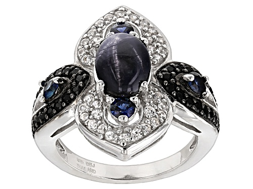 Photo of 2.72ctw Blue Star Sapphire, Black Spinel, Blue Sapphire, And White Zircon Sterling Silver Ring - Size 8