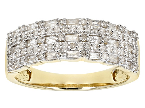 Photo of 0.59ctw Baguette And Round White Diamond 10K Yellow Gold Ring - Size 8