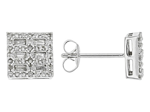 Photo of 0.46ctw Round And Baguette White Diamond 10K White Gold Earrings