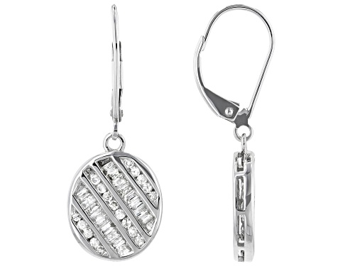 Photo of 0.84ctw Baguette & Round White Diamond 10K White Gold Earrings