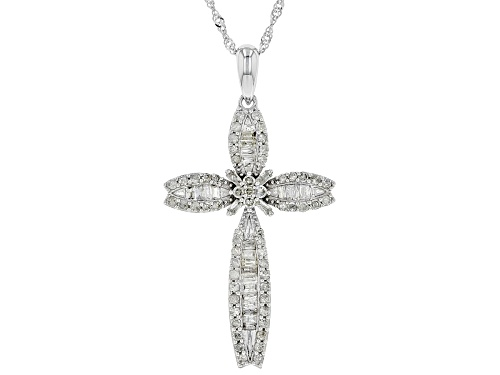 "Photo of 0.77ctw Round & Baguette White Diamond 10K White Gold Pendant With 18"" Chain"
