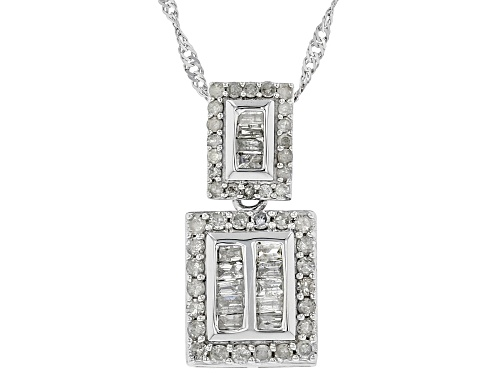 Photo of 0.56ctw Round And Baguette White Diamond 10K White Gold Pendant With 18 Inch Chain