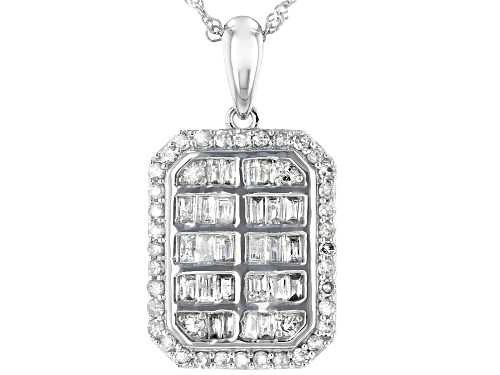 Photo of 0.76ctw Round & Baguette White Diamond 10K White Gold Pendant With 18 Inch Chain