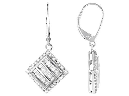 Photo of 1.00ctw Baguette & Round White Diamond 10K White Gold Dangle Earrings