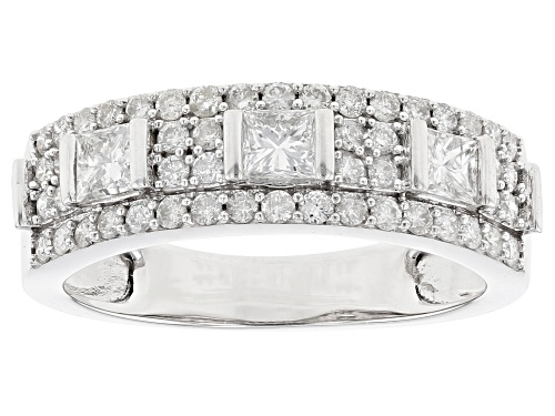 Photo of 0.90ctw Round And Princess Cut White Diamond 10K White Gold Ring - Size 10