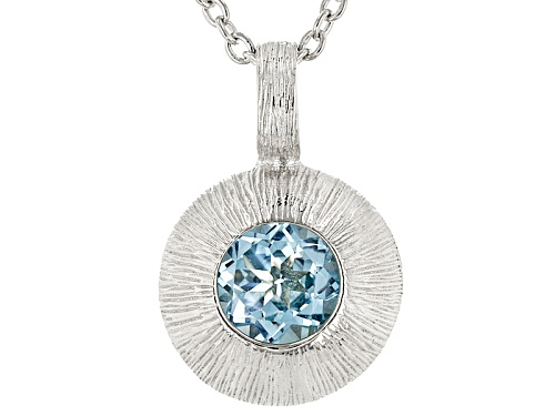 Photo of 1.53ct Sky Blue Topaz Rhodium Over Sterling Silver Solitaire Pendant With Chain