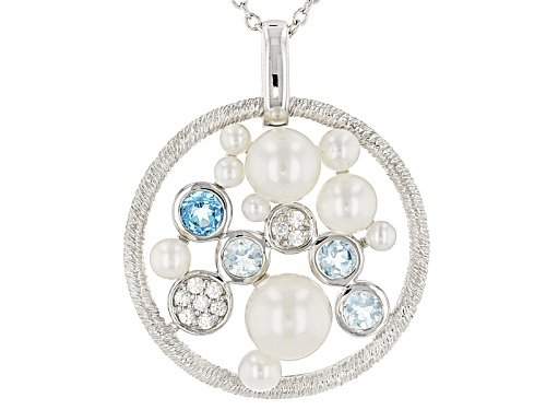 Photo of Michelle Albala 2.5-8mm Cultured Freshwater Pearl & Multigem Rhodium Over Silver Pendant & Chain