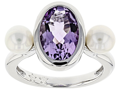 Photo of 5.5-6mm Cultured Freshwater Pearl & Pink Amethyst Rhodium Over Sterling Silver Ring - Size 12