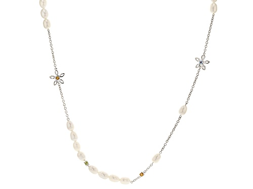 Photo of 7-7.5mm Cultured Freshwater Pearl & Multigem Rhodium Over Silver 24 Inch Necklace - Size 24