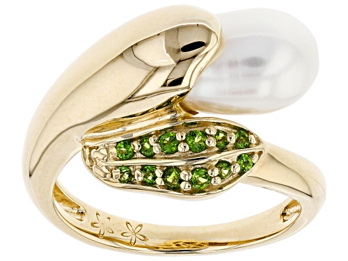 Photo of 7-7.5mm Cultured Freshwater Pearl & Chrome Diopside 18k Yellow Gold Over Silver Ring - Size 12