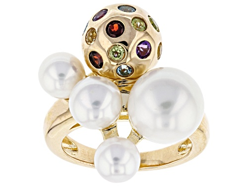 Photo of 6-10mm Cultured Freshwater Pearl & Multigem 18k Yellow Gold Over Silver Ring - Size 12