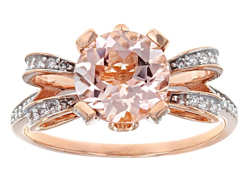 Photo of 1.55ct Cor-De-Rosa Morganite™, .16ctw White &,.03ctw Two Pink Diamond Accent 10k Rose Gold Ring - Size 12