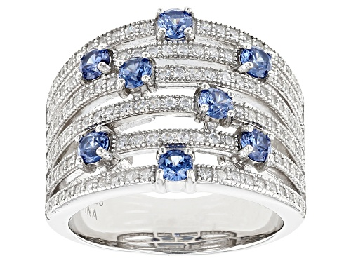 Photo of Bella Luce ® 2.40ctw Tanzanite And White Diamond Simulants Rhodium Over Sterling Silver Ring - Size 8