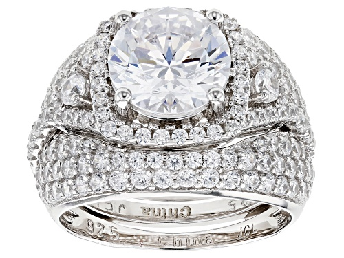 Photo of Bella Luce ® 5.64ctw White Diamond Simulant Rhodium Over Sterling Silver Ring With Guard - Size 7