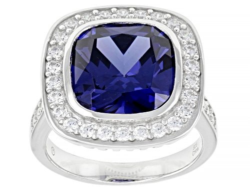 Photo of Bella Luce ® 12.96ctw Esotica™ Tanzanite And Diamond Simulant Rhodium Over Sterling Silver Ring - Size 7