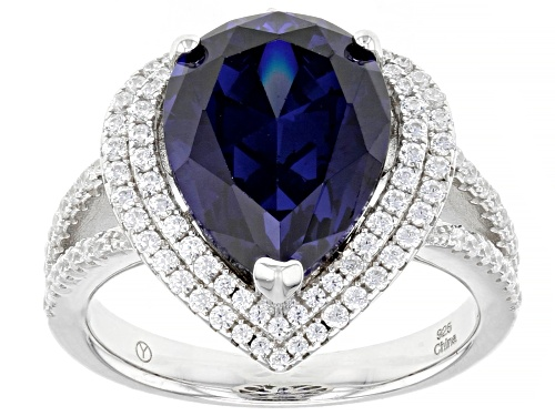 Photo of Bella Luce ® 8.94ctw Esotica™ Tanzanite And Diamond Simulants Rhodium Over Sterling Silver Ring - Size 10