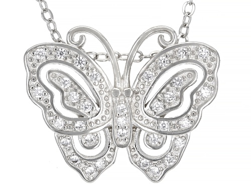 Bella Luce ® 0.44ctw Rhodium Over Sterling Silver Butterfly Pendant With Chain