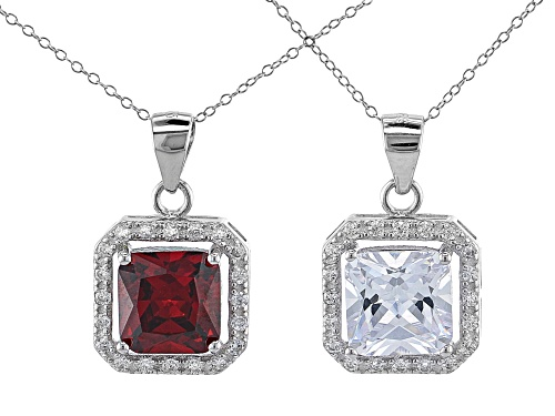 Photo of Bella Luce ® Ruby And White Diamond Simulants Rhodium Over Sterling Pendants With Chain- Set of 2
