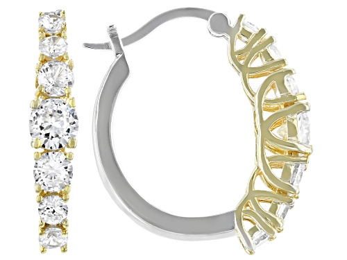 Photo of Bella Luce ® 4.36ctw Rhodium Over Sterling Silver And Eterno ™ Yellow Hoop Earrings
