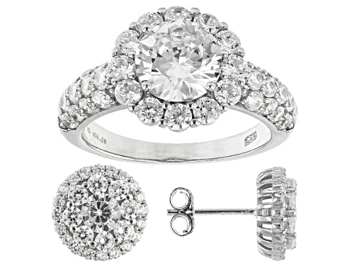 Photo of Bella Luce ® 4.25ctw Rhodium Over Sterling Silver Ring and Earrings Set