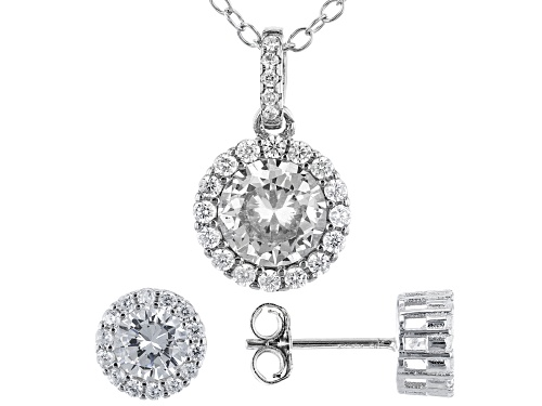 Photo of Bella Luce ® 2.75ctw Rhodium Over Sterling Silver Earrings And Pendant With Chain