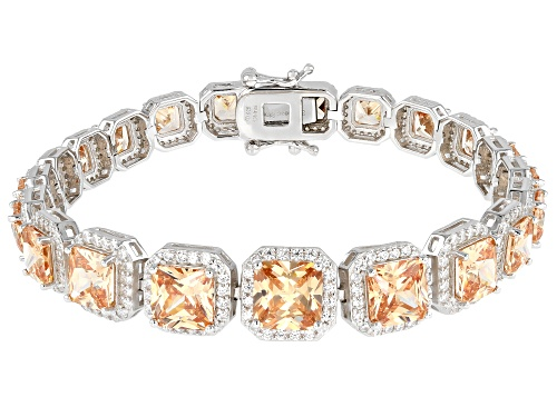 Photo of Bella Luce ® 39.46ctw Champagne And White Diamond Simulants Rhodium Over Sterling Silver Bracelet - Size 8