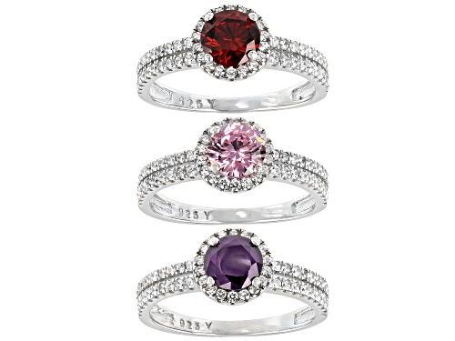 Photo of Bella Luce ® Amethyst, Ruby, Pink And White Diamond Simulants Rhodium Over Silver Rings- Set of 3 - Size 8