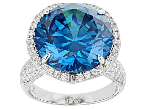 Bella Luce® 23.22ctw Esotica™ Neon Apatite And White Diamond Simulants Rhodium Over Sterling Ring - Size 6