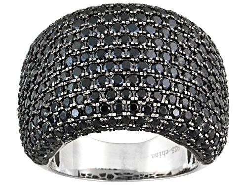 Black Spinel 3.57ctw Round, Rhodium Over Sterling Silver Ring - Size 5
